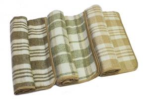 Одеяло п/шерсть 50% 100*140  клетка цвет бежевый с кантом