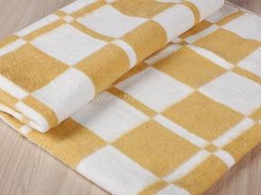 Одеяло байковое 100*140 клетка  цв. бежевый