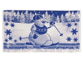 "6с103.412ж1 ""Снеговик на лыжах"" Полотенце махровое 50х90см"