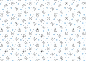 Фланель набивная б/з детская рис. 7871/2 Мишка с сердечками, ширина 90 см