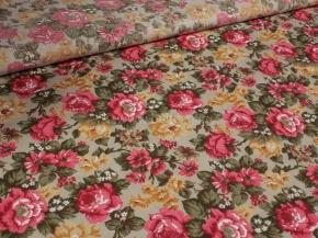 Полулен бельевой жаккард грунт арт. 4-18 рис. Летние цветы, 150см