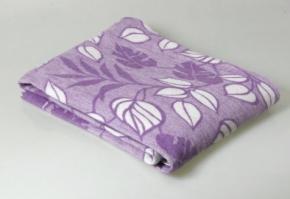 Одеяло п/шерсть 50% 170*205  жаккард  Листья цв. сирень