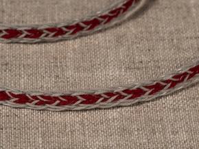 .6мм. 60202 ТЕСЬМА ОТДЕЛОЧНАЯ лен с красным 6мм (рул.30м)