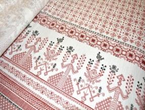 Ткань бельевая арт 1674 чесуча рис. Орнамент макошь, 150см