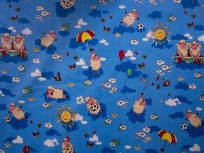 Бязь набивная ГОСТ рисунок 317/4 Овечки 2 синие, ширина 150 см