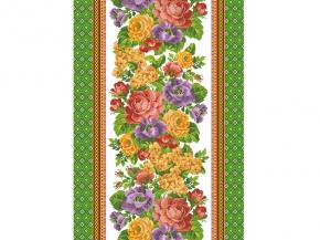 Полотно вафельное набивное грунт  Жаклин 1 цвет зеленый рисунок 19860/1 ширина 50см
