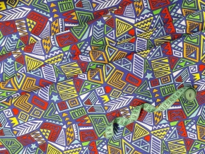 Бязь наб. плательная рис.7317-1 Абстракция зелено-красная яркая, шир. 150см