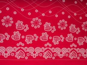 Ткань бельевая арт 175448 п/лен отб. набивной рис 09-16/2 Праздничный красный, ширина 150см