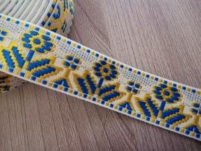 28мм. 90619 ЛЕНТА ОТДЕЛОЧНАЯ ЖАККАРДОВАЯ бел,голуб.желт 28мм (рул.25м)