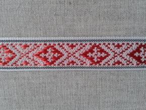 2С297-Г50 ЛЕНТА ОТДЕЛОЧНАЯ красный с черным на белом 20мм (рул.25м)