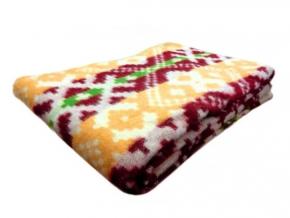 Одеяло п/шерсть 70% 140*205 жаккард цвет бордо с желтым
