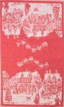 01с-78ЯК 50*76 Полотенце  Рождество в городе  цвет красный