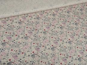 Ткань бельевая арт 2-21 п/лен кислованный рис. Бабочки розовые, 150см