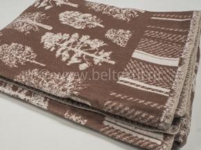 Одеяло хлопковое 140*205 жаккард 16/25 Деревья цв. коричневый