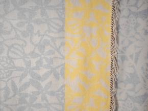 Плед хлопковый 140*200 жаккард 5/01 серый с желтым
