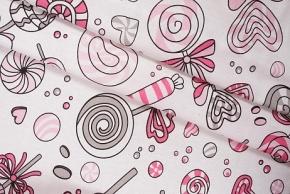 Бязь набивная 120г рис. 8107/2 Карамель розовая, ширина 150см