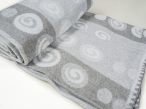 Одеяло хлопковое 140*205 жаккард 38/30 Круги цв. серый