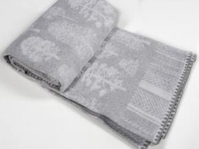 Одеяло хлопковое 170*205 жаккард 16/32  Деревья цв.серый