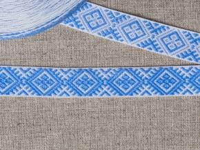 90135 ЛЕНТА ОТДЕЛОЧНАЯ ЖАККАРД белый с голубым 20мм (рул.25м)