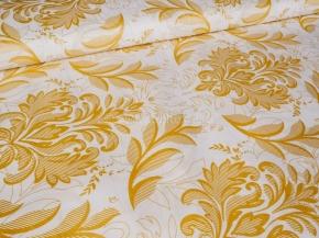 Ткань набивная Глосс-сатин рис.XG(6446) WHITE, золотое напыление, ширина 220см