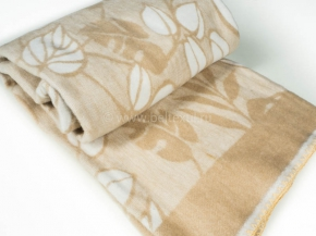 Одеяло п/шерсть 50% 170*205 жаккард Листья цв. бежевый