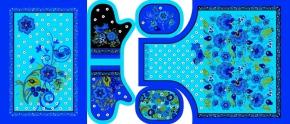 """Набор для кухни Рогожка """"Хохлома"""" синий из 4-х предметов (фартук+рукавица+прихватка+полотенце)"""