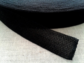 22мм. Тесьма вязан.окантовочная 22мм (2,4г/м) черный (рул.100м)