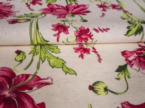 Ткань бельевая арт 175448 п/лен п/вареный набивной рис 5335/2 Маковое поле, ширина 150см