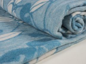 Одеяло п/шерсть 50% 140*205 жаккард Листья цвет голубой