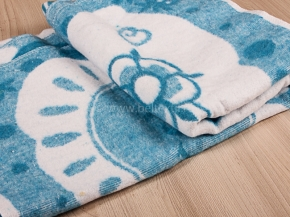 Одеяло байковое 100*140 жаккард цв. синий