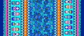 """Вафельная -универсал В16 рис. 4550/3 """"Матрёшка"""" синий, ширина 150 см"""