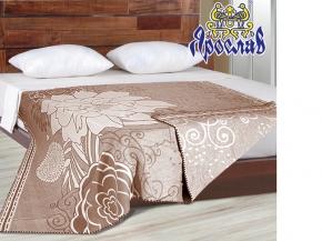 """Одеяло хлопковое 170*205 жаккард 13.9 """"Цветы"""" цвет коричневый"""
