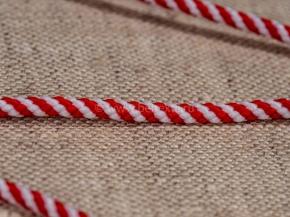 03С2178-Г50 ШНУР ОТДЕЛОЧНЫЙ белый с красным 3 мм (рул.100м)