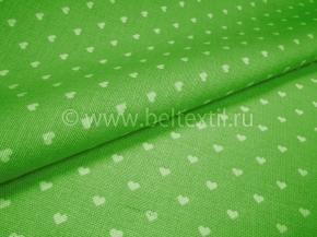 Ткань бельевая арт 175448 п/лен отб. набивной рис 64-17/4 Сердечки на зеленом, ширина 150см