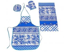 """Набор для кухни рогожка """"Гжель"""" синий из 4-х предметов (фартук+рукавица+прихватка+полотенце)"""