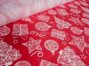 Ткань арт 186055 п/лен отб наб рис 47-17/1 Подарки красный фон, ширина 150см