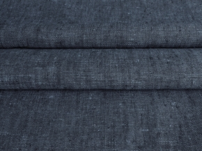 Ткань 05с-27ЯК лен меланж ХМ усадка рис.10,8/6,33 6,26 черный/голубой, ширина 150см