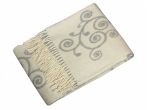 Плед хлопковый 170*200 жаккард 4/01 цвет белый с серым