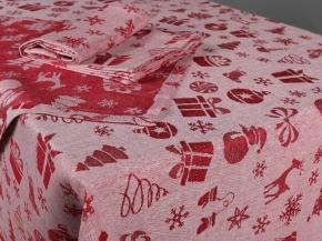 """18с285-ШР/уп 150*300+12 салф. 43*43 Комплект столовый  """"Новогодняя сказка-1"""" цв. 100 красный рис.318"""