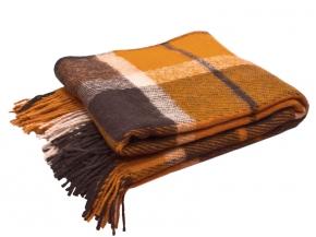 Плед шерсть 100% 140*200 цвет 30.46 коричневый с желтым