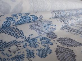 Ткань сувенирная рогожка набивная рисунок Розочки 352/2 б/з синий ширина 150 см
