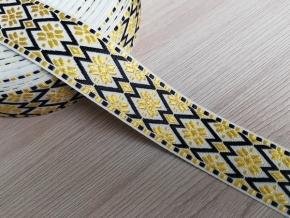 28мм. 90562 ЛЕНТА ОТДЕЛОЧНАЯ ЖАККАРДОВАЯ бел,желт.черн. 28мм (рул.25м)
