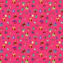 Вафельная -универсал В16 (0629/3) Новогодний сюрприз малиновый, ширина 150см