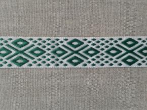 14С3844-Г50 ЛЕНТА ОТДЕЛОЧНАЯ ЖАККАРД белый с зеленым 22мм (рул.25м)