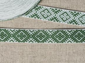 90135 ЛЕНТА ОТДЕЛОЧНАЯ ЖАККАРД белый с зеленым 20мм (рул.25м)
