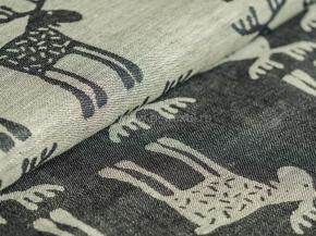 Ткань скатертная арт. 101074 п/лен жаккард рис. 1x997/3 Лоси черный вареный, ширина 160см