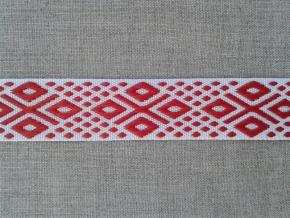 14С3844-Г50 ЛЕНТА ОТДЕЛОЧНАЯ ЖАККАРД белый с красным 22мм (рул.25м)