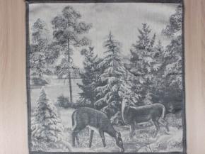 "14с-18ЯК  Салфетка 50*50  ""Зима в лесу"" цв. серый"