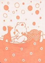 Одеяло хлопковое 100*140 жаккард 7/12 цвет персик
