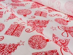 Ткань арт 186055 п/лен отб.набивной рис.46-17/1 Подарки красный рисунок, ширина 150см